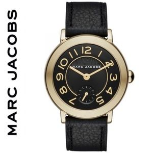 NWT Marc Jacobs goldtone leather strap Riley Watch